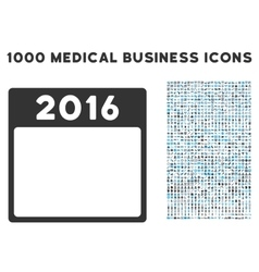 2016 year calendar template icon with 1000 medical vector