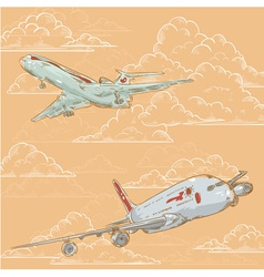 Airplanes on cloudy background card vector