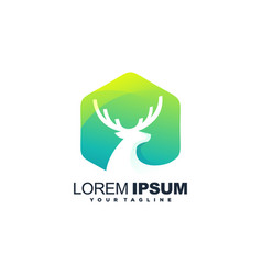 awesome gradient deer logo design vector image