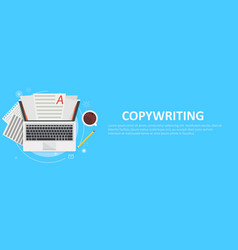 Banner copywriting computer with papers vector