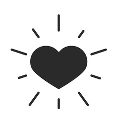 Black heart love romantic passion silhouette icon vector