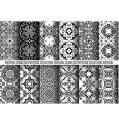 Black white arabesque patterns vector