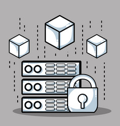 blockchain cubes digital security technology vector image