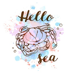 Blue watercolor texture and crab vector