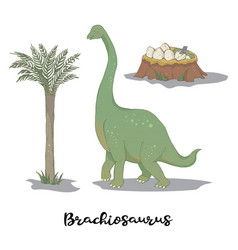 brachiosaurus with egg nest vector image