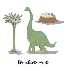 Brachiosaurus with egg nest vector