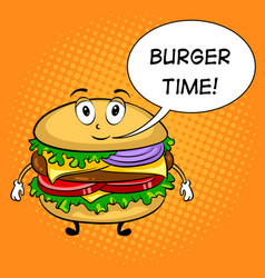 burger cartoon pop art vector image