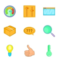 Business and strategy icons set cartoon style vector