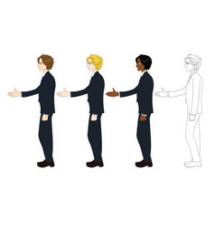 business man curly hair hand shake vector image