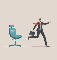 Businessman running out comfort zone to vector