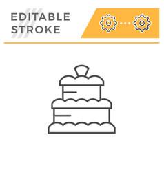 cake editable stroke line icon vector image
