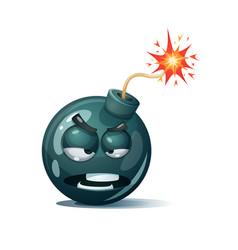 Cartoon bomb fuse wick spark icon spite smiley vector