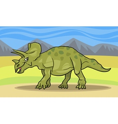 cartoon of triceratops dinosaur vector image