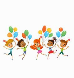 Children are jumping ob summer background bunner vector