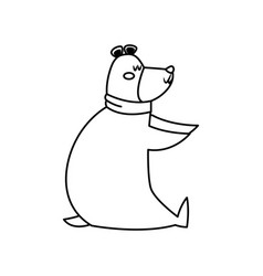 Christmas bear with scarf celebration vector