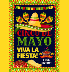 Cinco de mayo fiesta mexican party poster vector