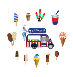 concept on street food set with car and ice cream vector image