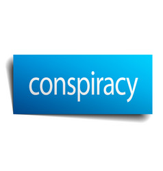 Conspiracy blue square isolated paper sign vector
