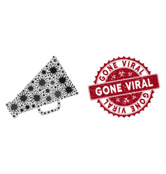 coronavirus mosaic megaphone icon with scratched vector image