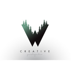 creative w letter logo idea with pine forest vector image