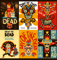 Dead day mexico bannes set vector