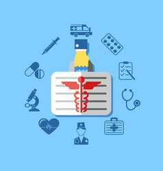 digital blue red pharmacy medical icons vector image
