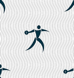 Discus thrower icon sign Seamless pattern with vector