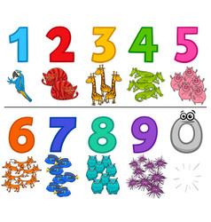 educational cartoon numbers set with animals vector image