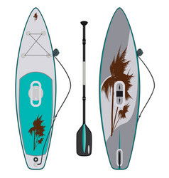 Electric sup surfboard flat vector