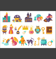 Fairytale set princess princess castle gnome vector
