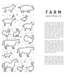 Farm animals silhouettes outline vector