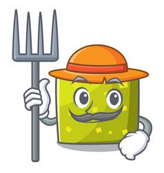 Farmer square character cartoon style vector