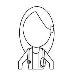 female doctor health care thin line vector image