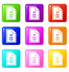 File zip icons 9 set vector