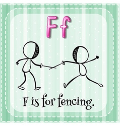 Flashcard letter f is for fencing vector