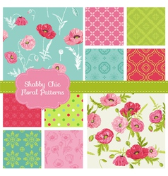 Floral Seamless Patterns - Poppy Theme vector image