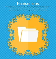 Folder icon Floral flat design on a blue abstract vector