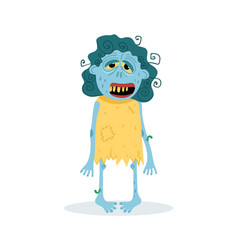 funny blue female zombie character vector image