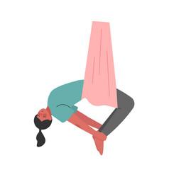 Girl doing air yoga slim young woman vector