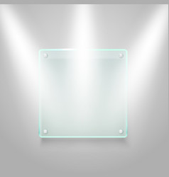 Glass board illuminated on the wall mockup vector