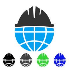 Global helmet flat icon vector