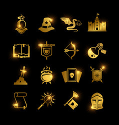 Golden fantasy medieval tale icons vector