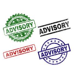 Grunge textured advisory stamp seals vector