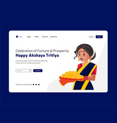 Happy akshaya tritiya landing page vector