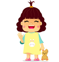 Happy cute little girl playing rabbit doll toy vector
