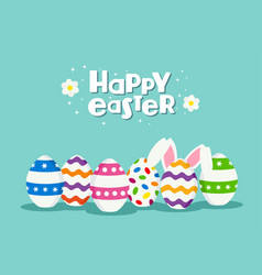 happy easter holiday card of eggs and rabbit vector image