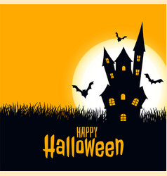 happy halloween scary card castle with moon and vector image