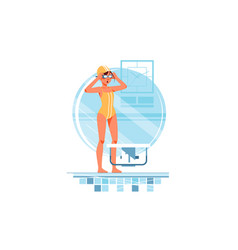 happy woman coaches and swimmers adjusts swimming vector image