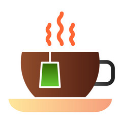 Hot tea flat icon cup with tea bag color icons in vector