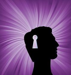 Human head with keyhole mark symbol vector